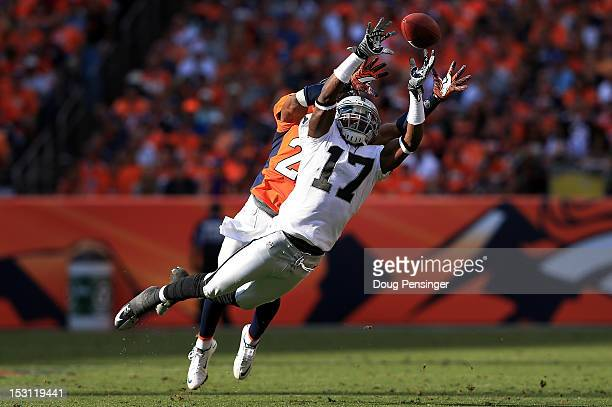 Wide receiver Denarius Moore of the Oakland Raiders is unable to make a reception as cornerback Champ Bailey of the Denver Broncos defends at Sports...