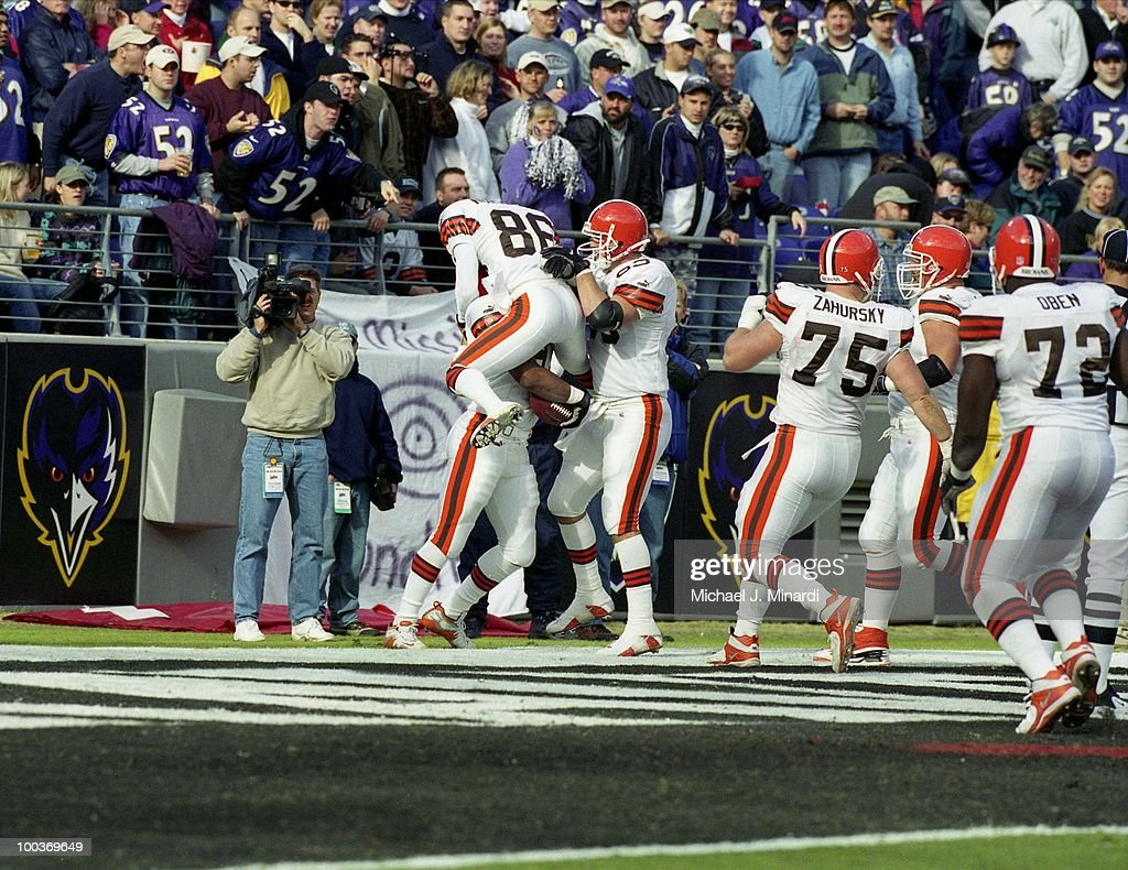 Wide Receiver Dennis Northcutt #86 and Tight End Mark Campbell #83 congradulate Running Back Travis Prentice #41 of the Cleveland Browns on making a Touch Down aginst the Baltimore Ravens at PSINet Ravens Stadium on November 26, 2000 in Baltimore, Maryland. The Ravens won 44 to 7.
