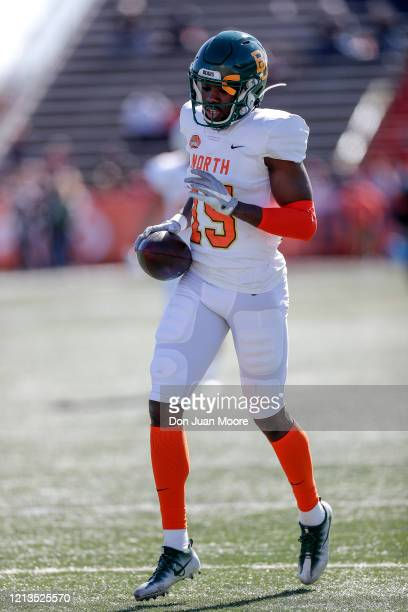 Wide Receiver Denzel Mims from Baylor of the North Team during the 2020 Resse's Senior Bowl at LaddPeebles Stadium on January 25 2020 in Mobile...