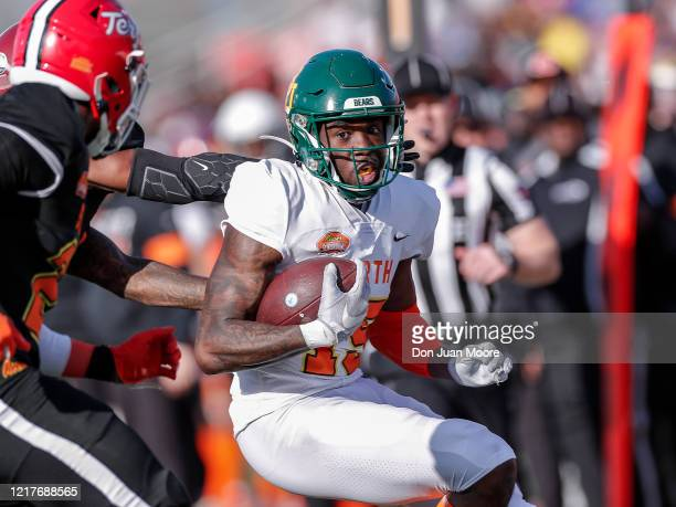 Wide Receiver Denzel Mims from Baylor of the North Team is forced out of bounds after a catch and run during the 2020 Resse's Senior Bowl at...