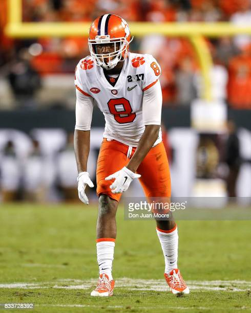 Wide Receiver Deon Cain of the Clemson Tigers during the 2017 College Football Playoff National Championship Game against the Alabama Crimson Tide at...