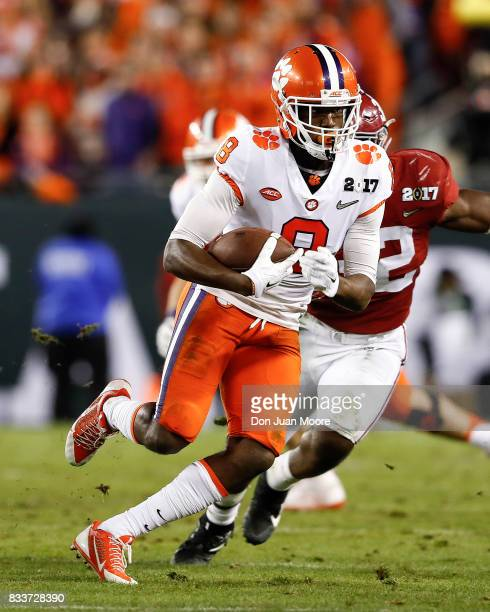 Wide Receiver Deon Cain of the Clemson Tigers makes a catch and run during the 2017 College Football Playoff National Championship Game against the...
