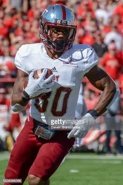 Wide receiver Deondre Douglas of the Troy Trojans runs against the Nebraska Cornhuskers at Memorial Stadium on September 15 2018 in Lincoln Nebraska