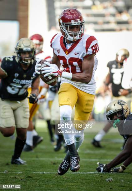 USC wide receiver Deontae Burnett catches a pass for a touchdown during the Colorado Buffalos game versus the USC Trojans on November 11 at Folsom...