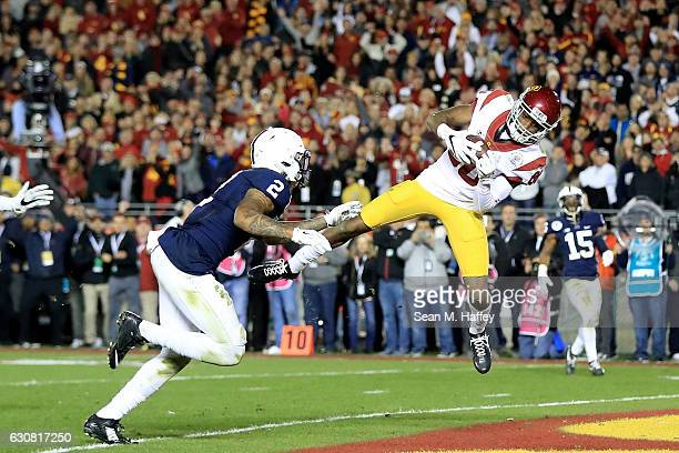 Wide receiver Deontay Burnett of the USC Trojans scores a 27-yard touchdown in the fourth quarter against the Penn State Nittany Lions during the...