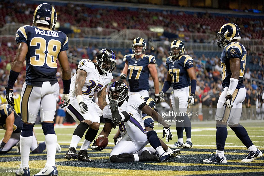 Wide receiver Deonte Thompson #83 of the Baltimore Ravens reacts after scoring a touchdown during the game against the St. Louis Rams at the Edward Jones Dome on August 30, 2012 in St. Louis, Missouri. The St. Louis Rams defeated the Baltimore Ravens 31-17.