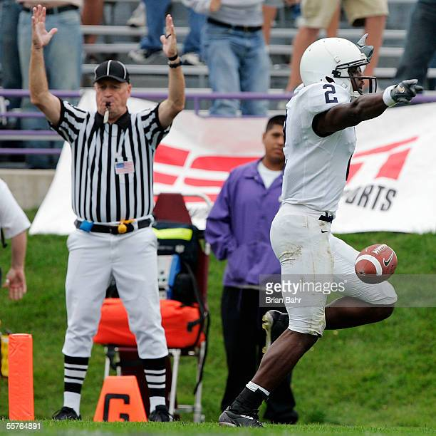 Wide receiver Derrick Williams of the Penn State Nittany Lions breaks free of the Northwestern Wildcats for a 36-yard touchdown with 51 seconds left...