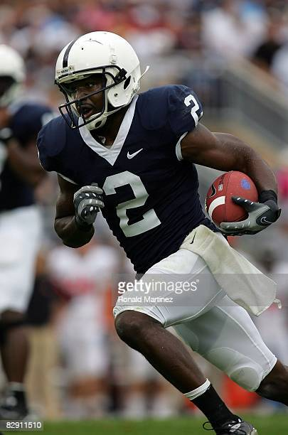 Wide receiver Derrick Williams of the Penn State Nittany Lions runs against the Oregon State Beavers at Beaver Stadium on September 6 2008 in State...