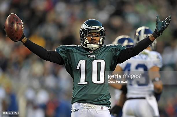 Wide Receiver DeSean Jackson of the Philadelphia Eagles celebrates during the game against the Indianapolis Colts at Lincoln Financial Field on...