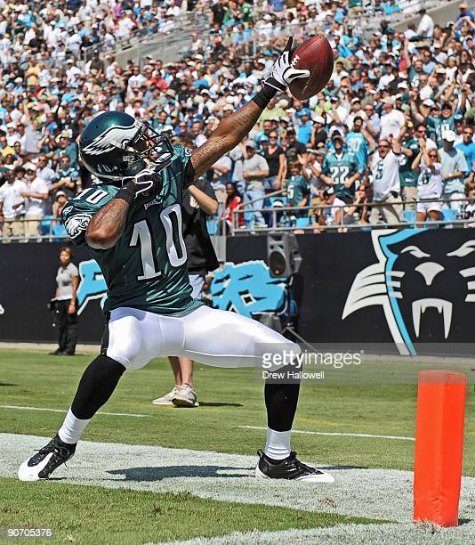 Wide receiver DeSean Jackson of the Philadelphia Eagles high celebrates a touchdown on a punt return during the game against the Carolina Panthers on...