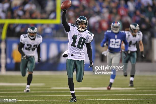 Wide Receiver DeSean Jackson of the Philadelphia Eagles returns a punt for a touchdown and the victory in the finals seconds of the game against the...