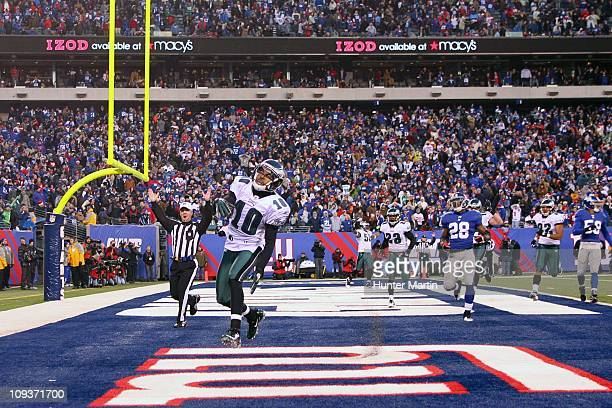 Wide receiver DeSean Jackson of the Philadelphia Eagles returns a punt for a game winning touchdown on the final play of a game against the New York...