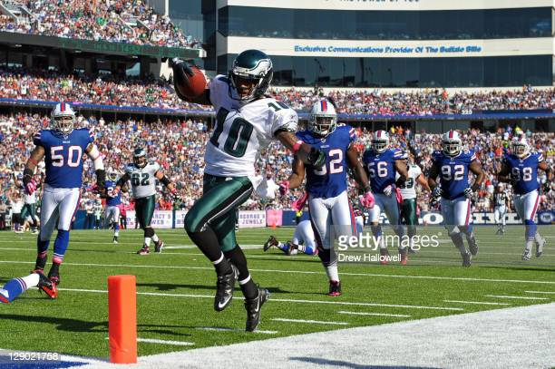 Wide Receiver DeSean Jackson of the Philadelphia Eagles tiptoes into the end zone for a touchdown during the game against the Buffalo Bills at Ralph...