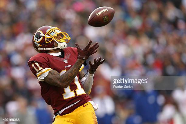 Wide receiver DeSean Jackson of the Washington Redskins scores a second quarter touchdown against the New York Giants at FedExField on November 29...
