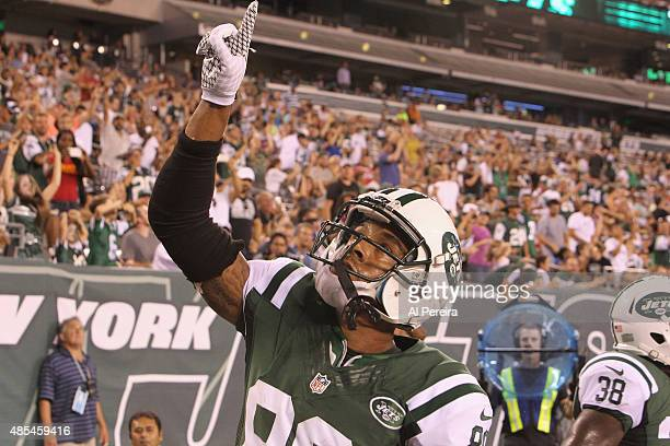 Wide Receiver DeVier Posey of the New York Jets has a Touchdown against the Atlanta Falcons at MetLife Stadium on August 21 2015 in East Rutherford...