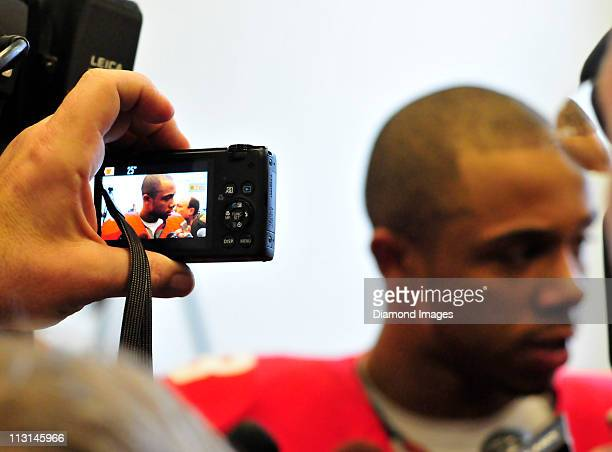 Wide receiver DeVier Posey of the University of Michigan takes questions from the media following the anual spring football game on April 23 2011 at...