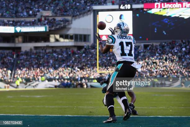 Wide receiver Devin Funchess of the Carolina Panthers makes a catch to score a touchdown against the Philadelphia Eagles during the fourth quarter at...