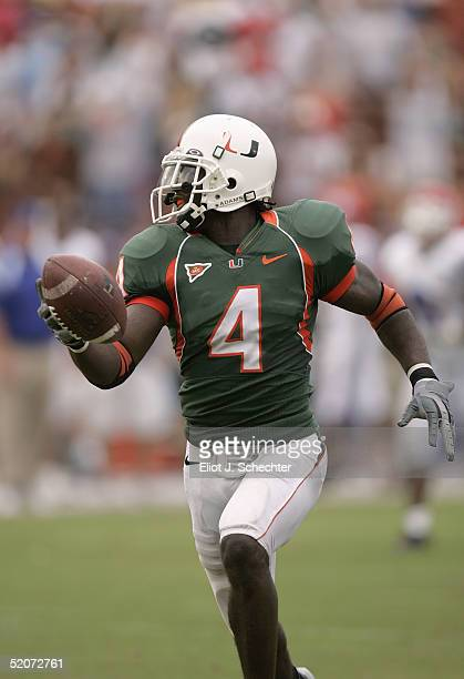 Wide receiver Devin Hester of the University of Miami Hurricanes runs upfield against the Louisiana Tech Bulldogs during the game on September 18...