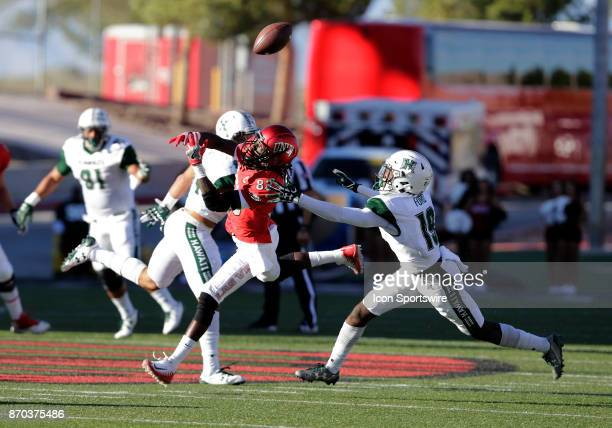 UNLV wide receiver Devonte Boyd attempts to catch a pass during a game against Hawaii on November 04 at Sam Boyd Stadium in Las Vegas Nevada The UNLV...