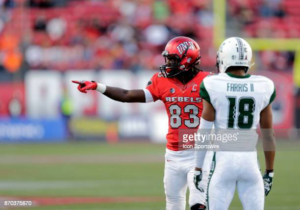 UNLV wide receiver Devonte Boyd points to the sideline during a game against Hawaii on November 04 at Sam Boyd Stadium in Las Vegas Nevada The UNLV...