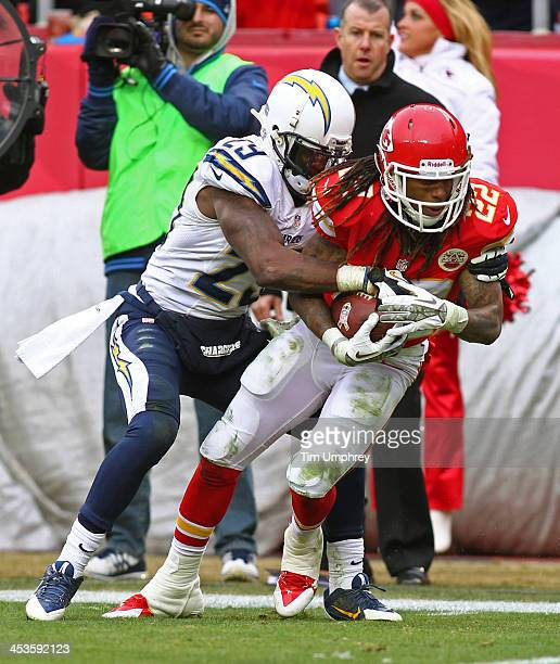 Wide receiver Dexter McCluster of the Kansas City Chiefs is tackled by cornerback Shareece Wright of the San Diego Chargers in the second half of a...