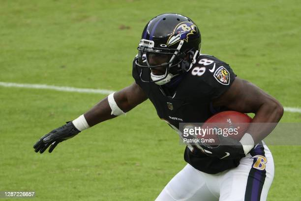 Wide receiver Dez Bryant of the Baltimore Ravens rushes against the Tennessee Titans during the second half at M&T Bank Stadium on November 22, 2020...