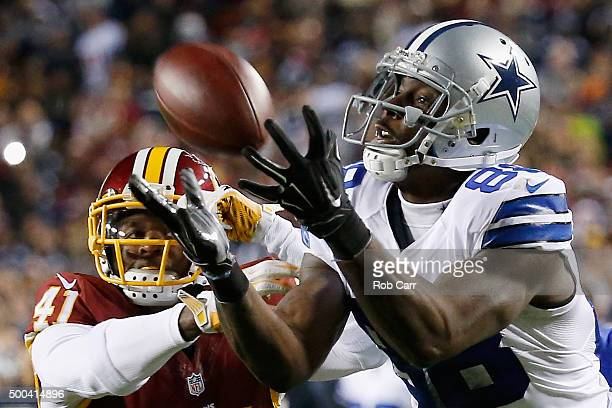 Wide receiver Dez Bryant of the Dallas Cowboys catches a pass against cornerback Will Blackmon of the Washington Redskins late in the fourth quarter...