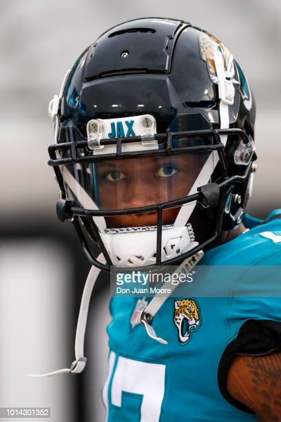 Wide Receiver DJ Chark Jr #17 of the Jacksonville Jaguars during a preseason game against the New Orleans Saints at TIAA Bank Field on August 9 2018...