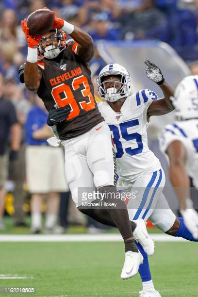Wide receiver DJ Montgomery of the Cleveland Browns goes up for the ball as cornerback Pierre Desir of the Indianapolis Colts defends at Lucas Oil...