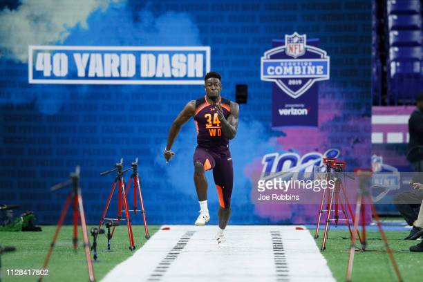 Wide receiver DK Metcalf of Ole Miss runs the 40yard dash during day three of the NFL Combine at Lucas Oil Stadium on March 2 2019 in Indianapolis...