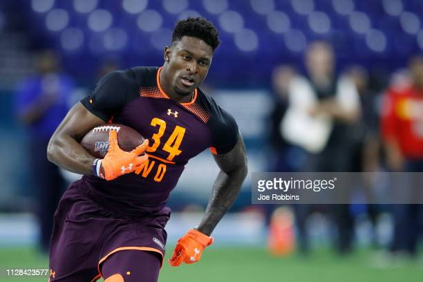 Wide receiver DK Metcalf of Ole Miss works out during day three of the NFL Combine at Lucas Oil Stadium on March 2 2019 in Indianapolis Indiana