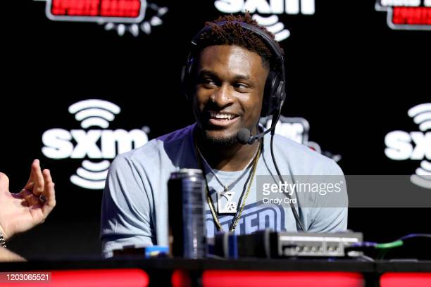 NFL wide receiver DK Metcalf of the Seattle Seahawks speaks onstage during day 2 of SiriusXM at Super Bowl LIV on January 30 2020 in Miami Florida