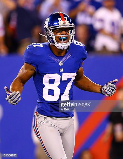 Wide receiver Domenik Hixon of the New York Giants reacts after a catch in the third quarter against the Dallas Cowboys during the 2012 NFL season...