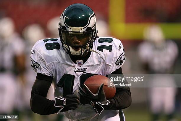 Wide receiver Donte' Stallworth of the Philadelphia Eagles runs with the ball before the game against the New York Jets on September 1 2006 at Giants...