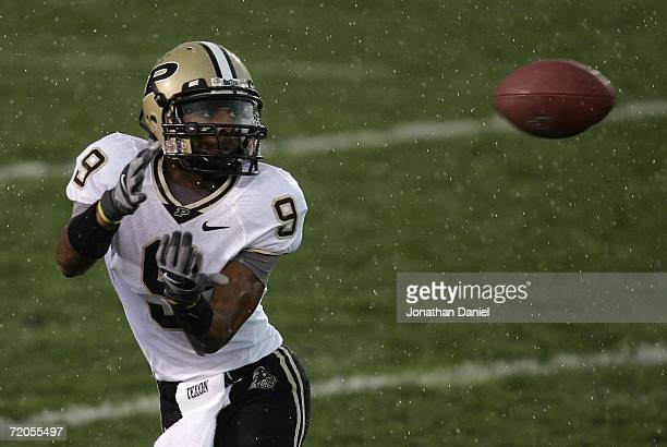 Wide receiver Dorien Bryant of the Purdue Boilermakers looks in the ball as he attempts to make a catch in the rain against the Notre Dame Fighting...