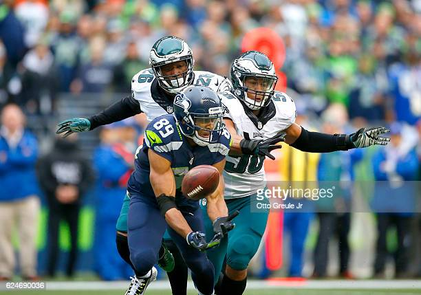 Wide receiver Doug Baldwin of the Seattle Seahawks can't hold on to a pass against the Philadelphia Eagles at CenturyLink Field on November 20 2016...