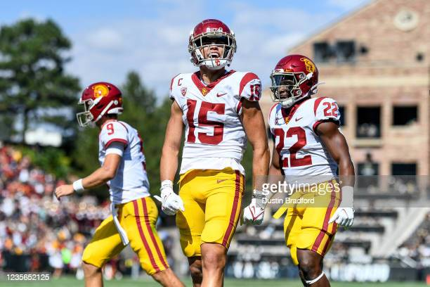 Wide receiver Drake London of the USC Trojans celebrates after a first quarter touchdown catch against the Colorado Buffaloes at Folsom Field on...