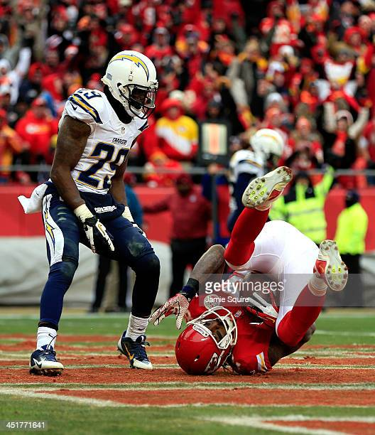 Wide receiver Dwayne Bowe of the Kansas City Chiefs makes a catch for a touchdown as cornerback Shareece Wright of the San Diego Chargers looks on...