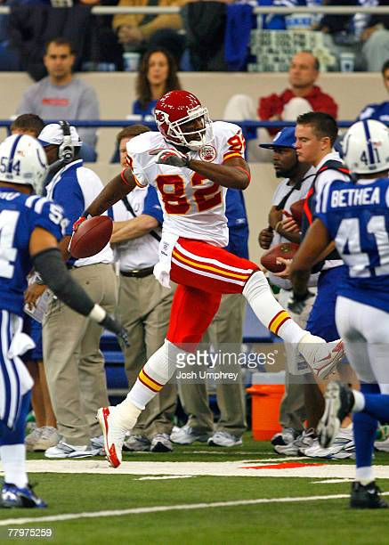 Wide receiver Dwayne Bowe of the Kansas City Chiefs tiptoes the sideline in a game against the Indianapolis Colts at the RCA Dome on November 18 2007...