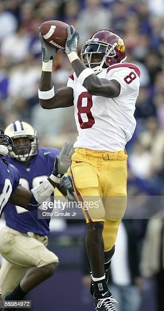 Wide Receiver Dwayne Jarrett of the USC Trojans catches a pass for the second touchdown against Dashon Goldson of the Washington Huskies on October...