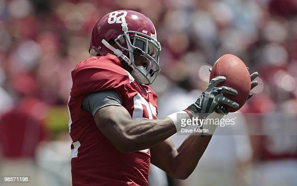 Wide receiver Earl Alexander of the University of Alabama catches the ball prior to the start of the Alabama spring game at Bryant Denny Stadium on...