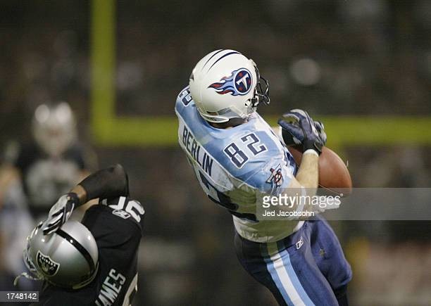 Wide receiver Eddie Berlin of the Tennessee Titans can't make the catch for a third down in the third quarter against the Oakland Raiders during the...