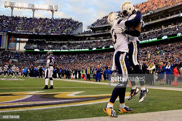 Wide receiver Eddie Royal of the San Diego Chargers celebrates with wide receiver Keenan Allen of the San Diego Chargers after catching the game...