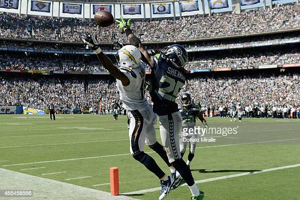 Wide receiver Eddie Royal of the San Diego Chargers is defended by cornerback Richard Sherman of the Seattle Seahawks at Qualcomm Stadium on...