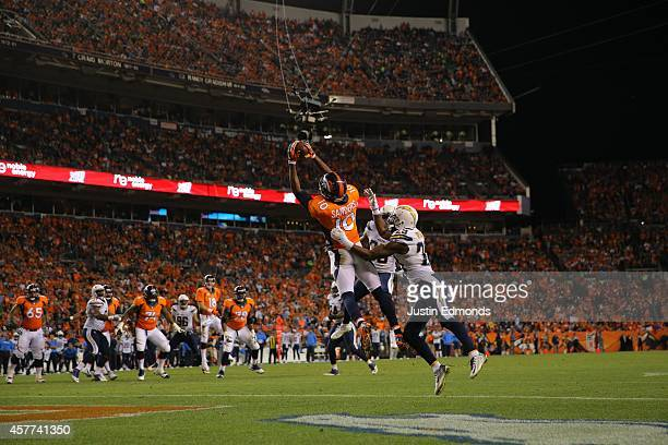 Wide receiver Emmanuel Sanders of the Denver Broncos has his third touchdown catch of the game over cornerback Shareece Wright of the San Diego...