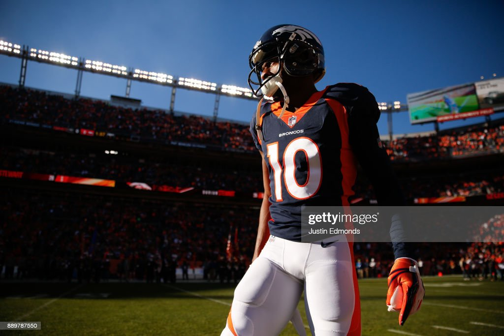 Wide receiver Emmanuel Sanders #10 of the Denver Broncos on the field during pre-game before taking on the New York Jets at Sports Authority Field at Mile High on December 10, 2017 in Denver, Colorado.