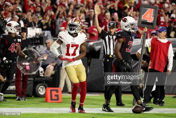 Wide receiver Emmanuel Sanders of the San Francisco 49ers celebrates his touchdown in the second quarter over the Arizona Cardinals during the game...