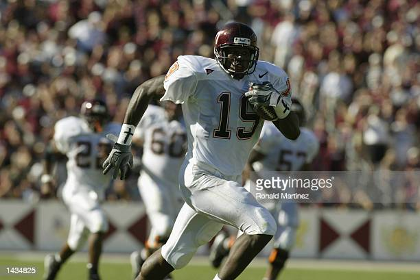 Wide receiver Ernest Wilford of the Virginia Tech Hokies runs with the ball during the NCAA football game against the Texas AM Aggies on September 21...