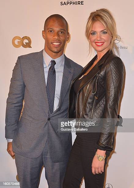 Wide receiver for the New York Giants, Victor Cruz and model Kate Upton attend the GQ Super Bowl party sponsored by Lacoste and Mercedes-Benzat The...