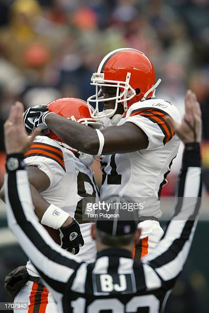 Wide Receiver Frisman Jackson and Wide Receiver Quincy Morgan of the Cleveland Browns celebrate the touchdown during the NFL game against the...